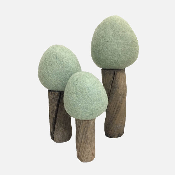 Felted Wool Earth Trees - Set of 3 - Summer