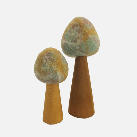 Felted Wool Earth Trees - Set of 2 - Marbled
