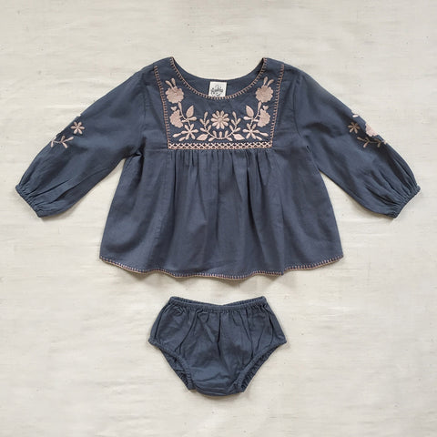 Cotton Francoise Baby Tunic Set - Blue Mountain - 6m-2y