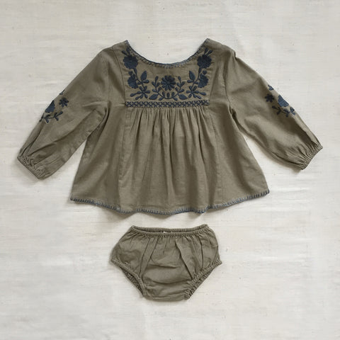 Cotton Francoise Baby Tunic Set - Sage - 6m-2y