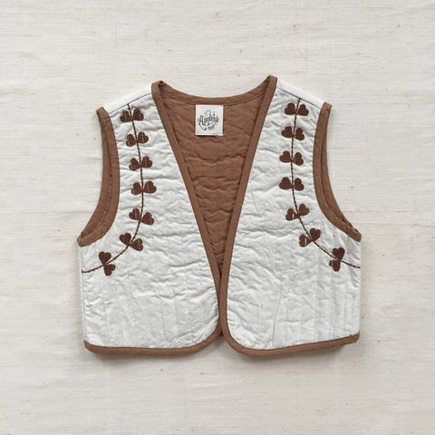 Cotton Poplin Baby Bo Quilted Gilet - Salt - 18m-2y