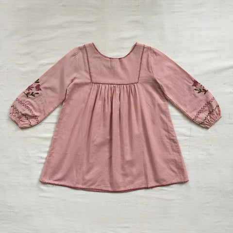 Cotton Francoise Dress - Buckwheat/Pink - 2-7y