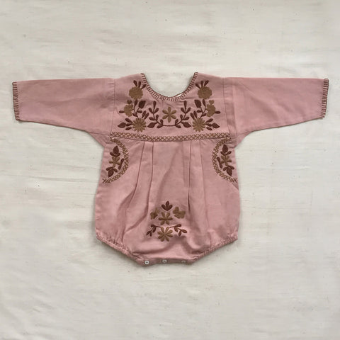 Cotton Jane Baby Romper - Buckwheat/Pink - 6m-2y