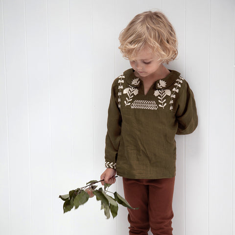 Linen Unisex Sonny Smock Top - Branch Green - 2-7y