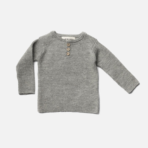 Alpaca Grandpa Sweater - Grey - 6m-12y