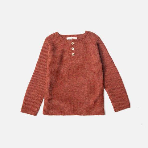 Alpaca Grandpa Sweater - Terracotta - 6m-12y