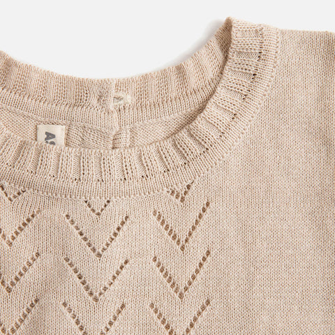Cotton/Baby Alpaca Lace Front SS Sweater - Shell - 18m-5y