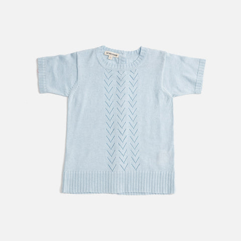 Cotton/Baby Alpaca Lace Front SS Sweater - Pale Blue - 18m-8y