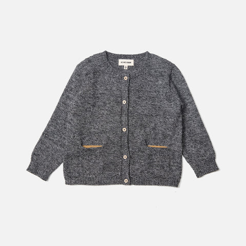 Alpaca Pocket Cardigan - Salt'n Pepper - 6m-12y