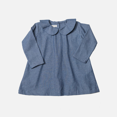 Cotton Peter Pan Collar Dress - Blue Herringbone Denim - 6m-8y