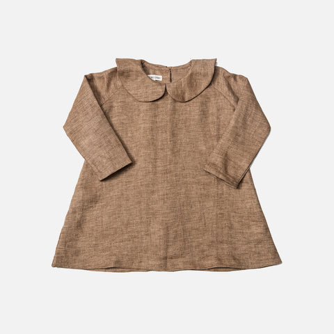 Linen Peter Pan Collar Dress - Brown - 6m-8y