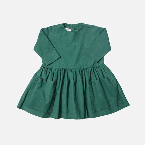 Cotton Corduroy LS Pocket Dress - Green - 6m-12y