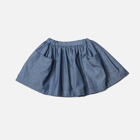 Cotton Pocket Skirt - Blue Herringbone Denim - 6m-8y