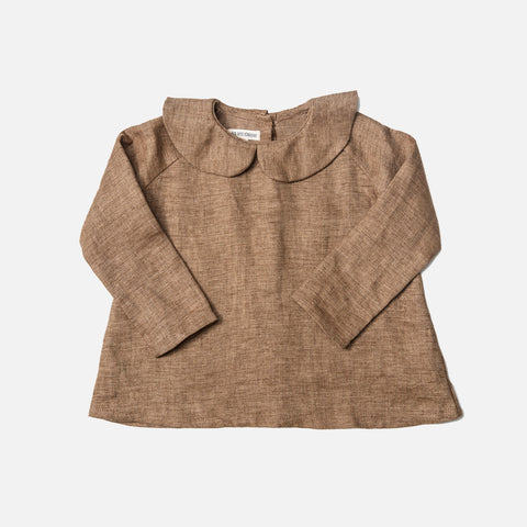 Linen Long Sleeve Peter Pan Shirt - Brown Moss - 6m-8y
