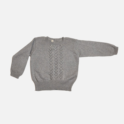 Cotton/Alpaca Lace Front Sweater - Grey - 6m-8y