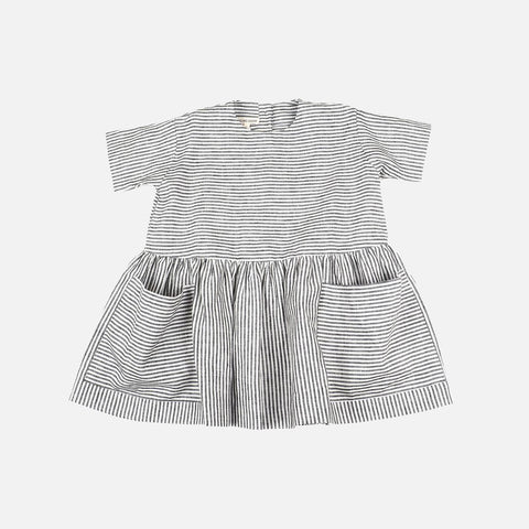 Linen Pocket Dress SS - Grey/White Stripe - 6m-8y