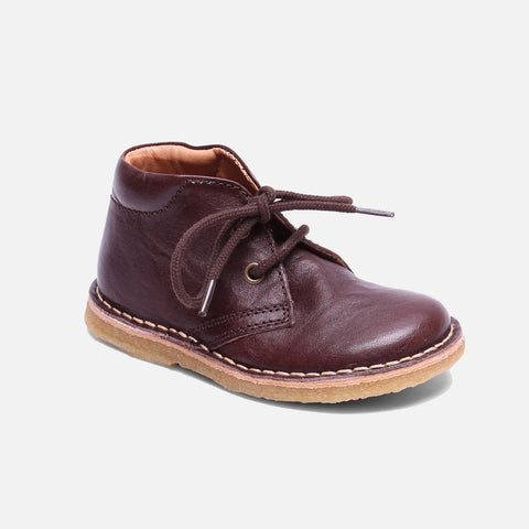 Vegetable Tanned Leather Shoe with Laces - Brown