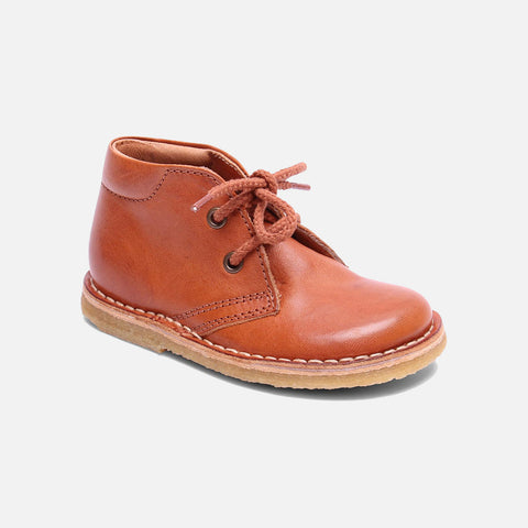 Vegetable Tanned Leather Shoe with Laces - Cognac