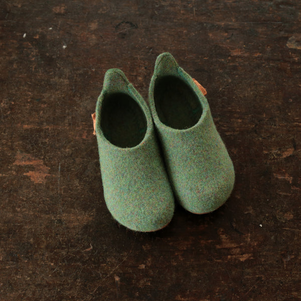 Wool Slipper Shoe - Green - Size 28-36 (UK 10-3.5)