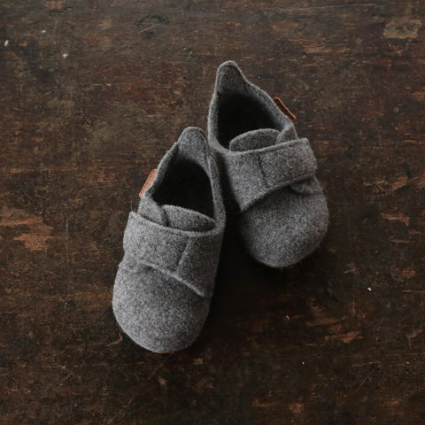 Wool Slipper Shoe With Velcro - Grey - Size 36