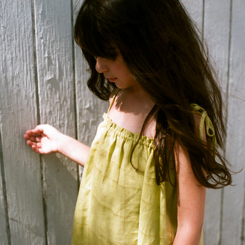 Linen Lagoon Dress - Mustard - 2-8y