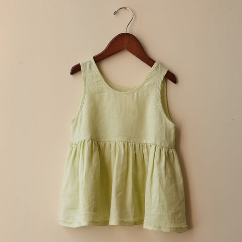 Linen Katie Top - Lime - 2-10y