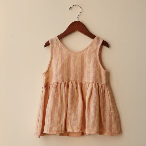 Linen Katie Top - Peach - 2 & 8-10y