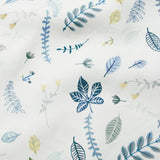 Organic Duvet & Pillow Cover - Pressed Leaves Blue - Junior Cot