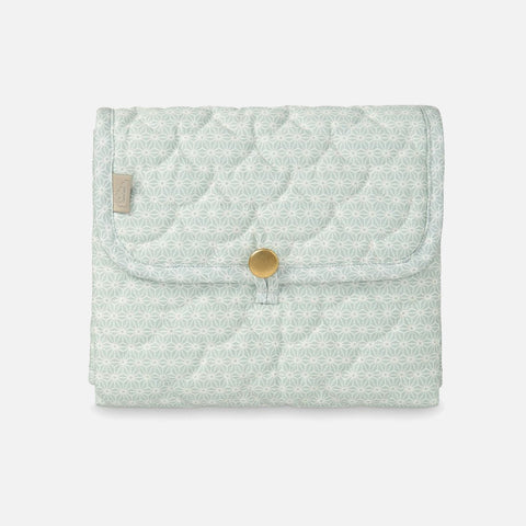 Organic Quilted Changing Mat - Sashiko Mint