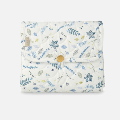 Organic Quilted Changing Mat - Pressed Leaves Blue
