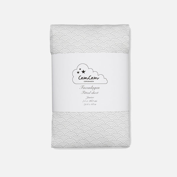 Organic Fitted Sheet - Grey Wave - Junior
