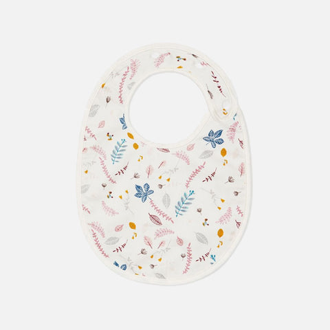 Organic Cotton Pressed Leaves Bib - Rose