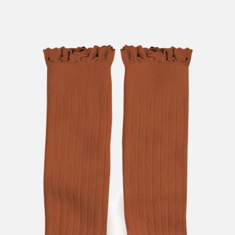 Babies & Kids Cotton Knee Socks With Lace  - Cinnamon