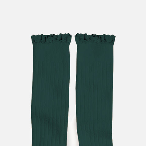 Babies & Kids Cotton Knee Socks With Lace  - Fern
