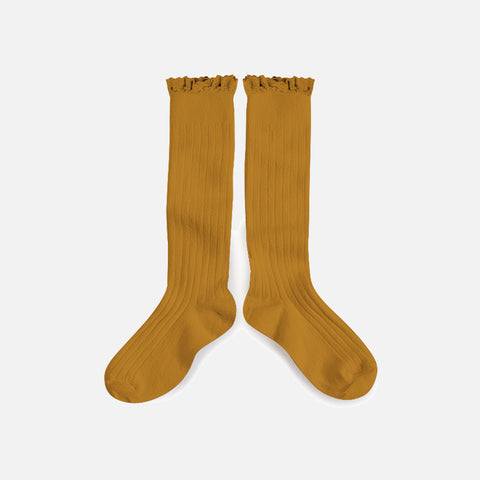 Babies & Kids Cotton Knee Socks With Lace  - Mustard - 1-12y