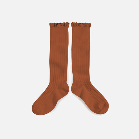 Babies & Kids Cotton Knee Socks With Lace  - Cinnamon - 1-12y