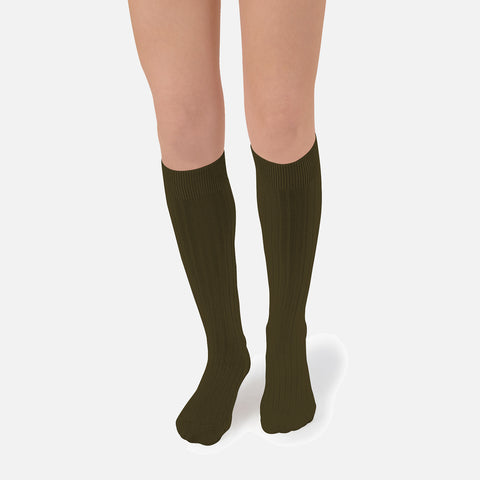 Adult Cotton Knee Socks - Cactus Green