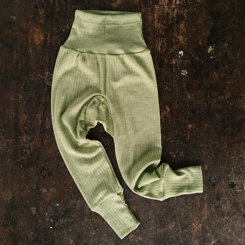 Organic Merino Wool, Cotton & Silk Baby Pants - Green Melange - 0m-2y