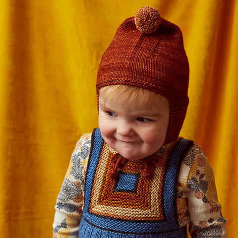 Hand Knit Merino Wool Pointy Peak Hat - Terracotta - 6m-8y