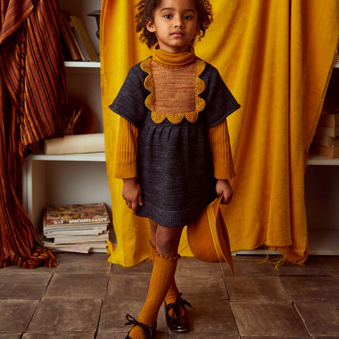 Hand Knit Merino Wool Scallop Bib Dress - Midnight - 1-8y