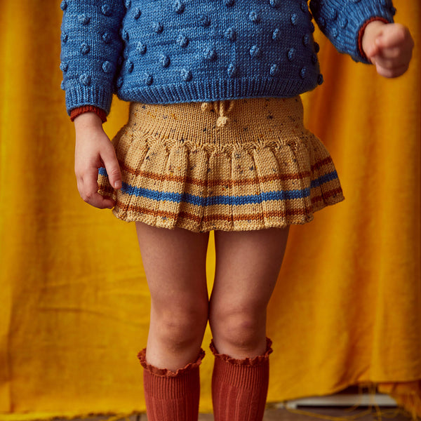 Hand Knit Merino Wool Skating Pond Skirt - Camel Confetti Stripe - 6m-6y