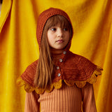 Hand Knit Merino Wool Scallop Riding Hood - Terracotta - 2-8y