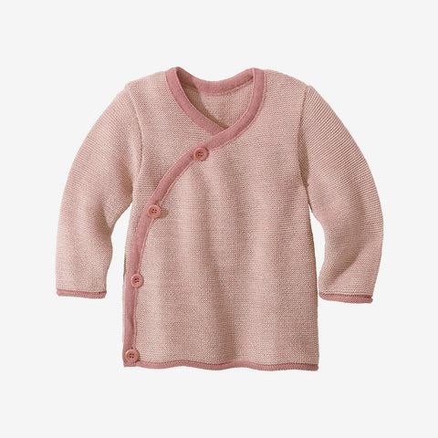 Organic Merino Baby Cardigan - Rose/Natural