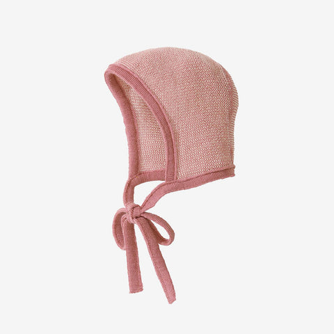 Organic Merino Knitted Bonnet - Rose/Natural - 0-10m