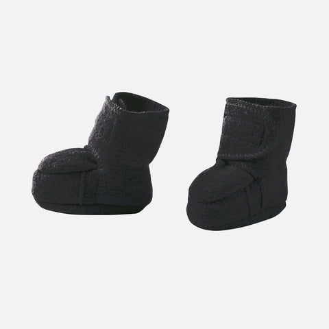 Organic Boiled Wool Booties - Anthracite