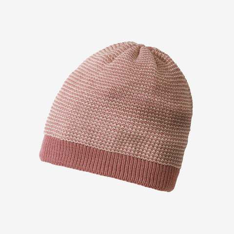 Organic Knitted Merino Beanie - Rose/Natural - 1-6y