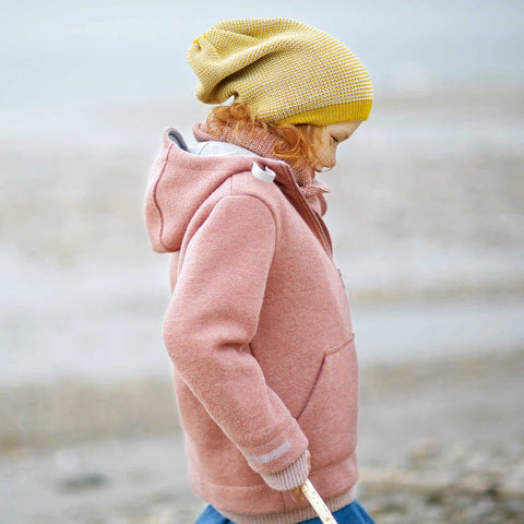 Organic Boiled Wool Kids Zip Jacket - Rose - 2-10y