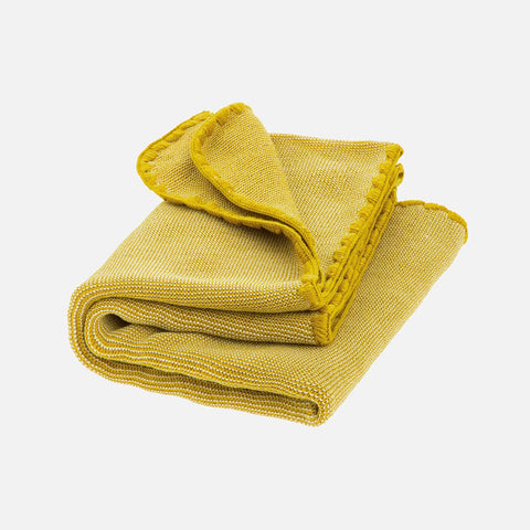 Organic Merino Melange Baby Blanket - Curry/Natural