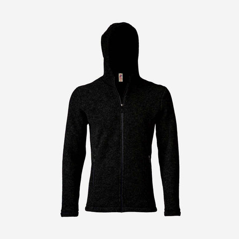 Unisex 100% Organic Merino Wool Fleece Jacket - Black