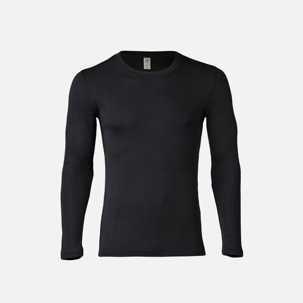 Organic Silk/Merino Men Long Sleeve Top - Grey, Black Or Walnut